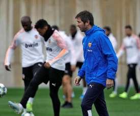 El Valencia entrenó este lunes. EFE/ManuelBruque