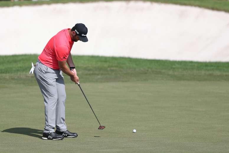Jon Rahm of Spain plays putt shot during the final round of DP World Tour Championship European Tour Golf tournament 2019, at the Jumeirah Golf Estates in Dubai, United Arab Emirates. EFE/EPA/Ali Haider/File