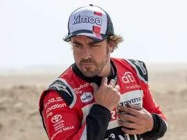 El piloto español Fernando Alonso (Toyota Gazoo Racing) durante el Rally Dakar 2020. EFE/EPA/Andre Pain