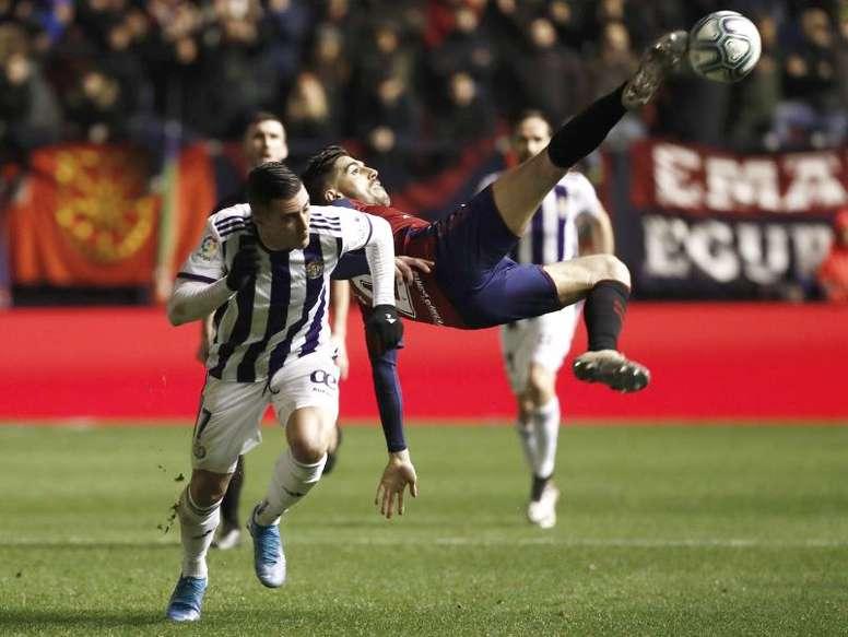 El atacante del Valladolid ya mira al futuro y piensa en el Espanyol. EFE