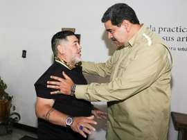 Maradona viajó a Venezuela para dar apoyo a Maduro. EFE