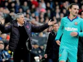 'AS': jogadores do Barça criticam o estilo de jogo no descanso. AFP