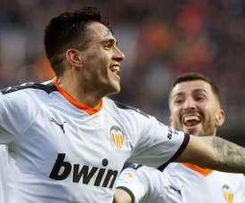 Maxi Gómez, autor de dois gols, segundo a súmula do jogo. EFE