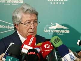 Le président de l'Atleti évoque le transfert de Cavani. EFE