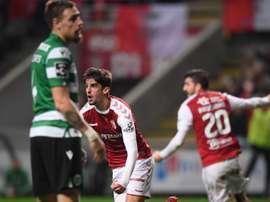 Trincão marcou o único gol da partida do Sporting de Braga contra o Sporting. EFE/EPA/HUGO DELGADO
