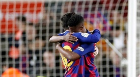 Ansu Fati (R) played down comparisons with Lionel Messi. EFE