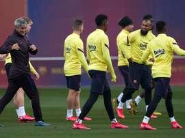 Le FC Barcelone travaille avant la Ligue des champions. EFE m