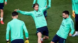 El Madrid completó el último entrenamiento. EFE