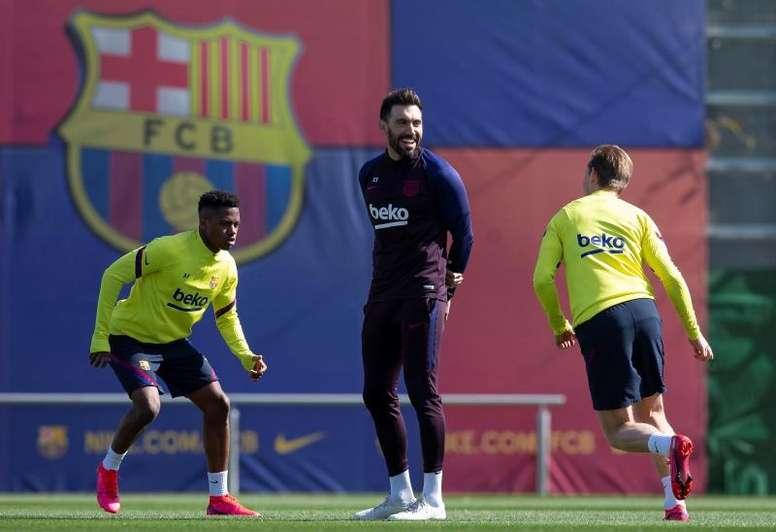 Ansu Fati voltou a treinar com os colegas após lesão. EFE/ Enric Fontcuberta