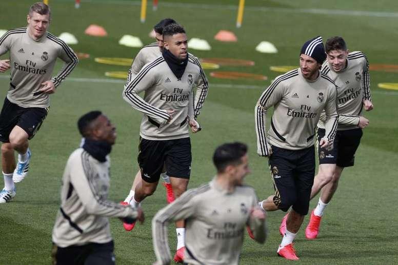 Nacho was back training for Real Madrid. EFE