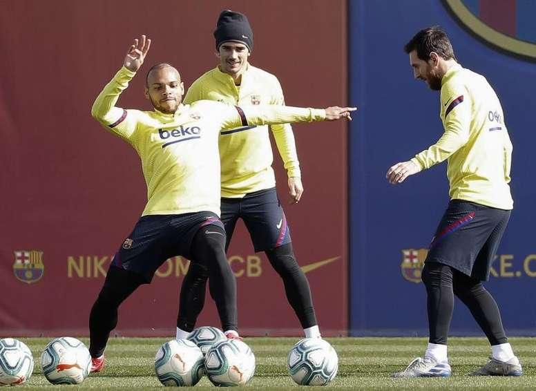 Luis Suarez and Braithwaite tune up for Mallorca. EFE