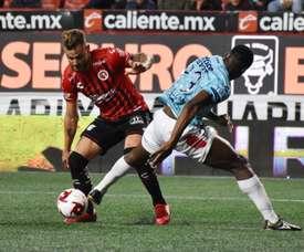 Alexis Castro pone la firma de la victoria de Tijuana. EFE/Alejandro Zepeda