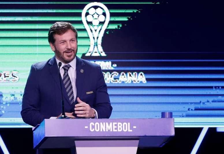 Alejandro Domínguez, presidente da Conmebol, enviou carta à Fifa. EFE/Nathalia Aguilar/Archivo