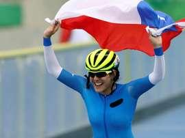 En la imagen, la campeona panamericana de Patinaje María José Moya. EFE/Juan Ponce Valenzuela/Archivo