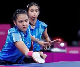 Fotografía tomada el pasado 6 de agosto en la que se registró a las tenismesistas puertorriqueñas Adriana (i) y Melanie Díaz (d). EFE/Christian Ugarte/Archivo