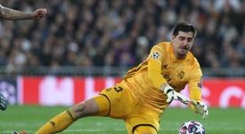 Courtois avisa: el Madrid irá a por todas en la próxima Champions. AFP