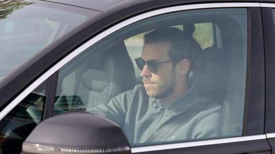 Gareth Bale, avec une célébration bien à lui durant l'entrainement du Real Madrid. EFE