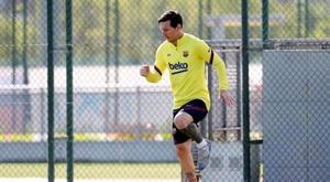 Messi faz treino com trabalho específico. EFE/FC Barcelona/Miguel Ruíz