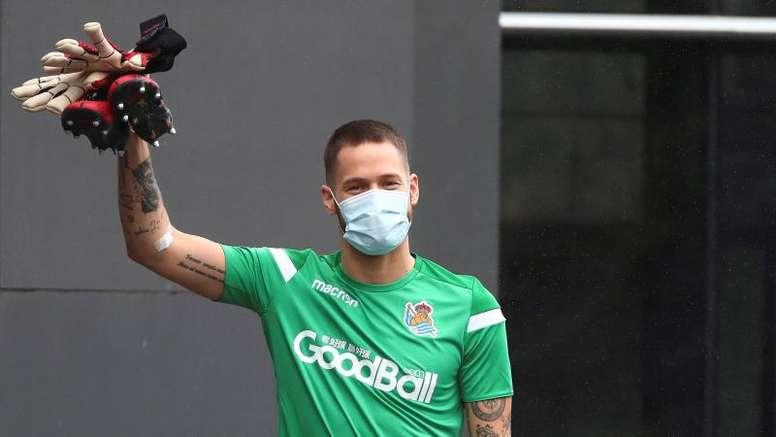 Remiro dio el plan para ganar al Madrid y recordó el peligro de Odegaard. EFE/RealSociedad