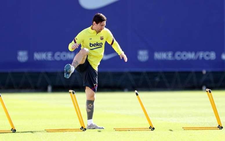 Lionel Messi s'est entraîné en solitaire. EFE