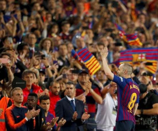 Deux ans de la dernière valse d'Iniesta avec le Barça. AFP