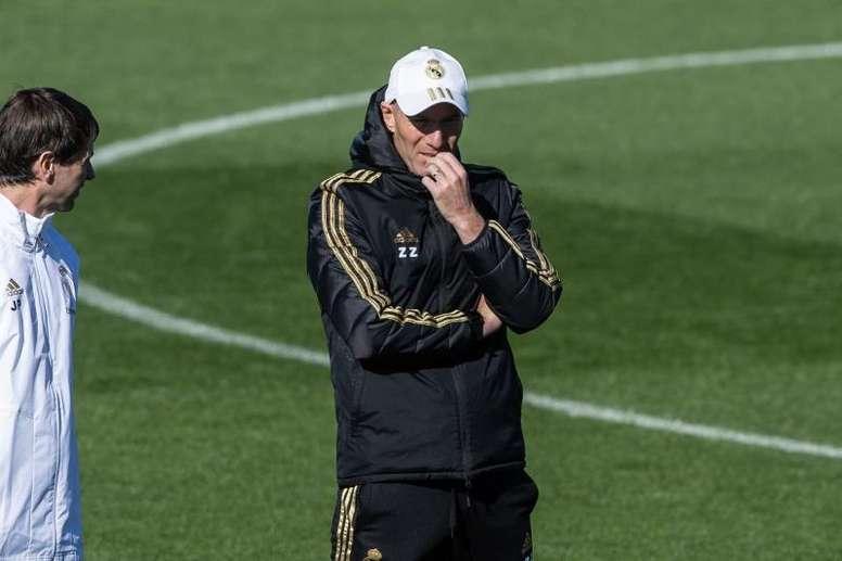 Zinedine Zidane vive a terceira semana de treinos após a quarentena. EFE/Rodrigo Jiménez/Arquivo