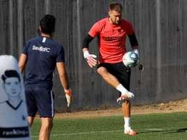 Les joueurs de Séville travaillent pour le derby face au Betis. EFE