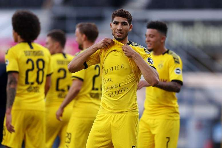 Sancho, Achraf join Mckennie and Thuram in 'Justice for George Floyd' protest. AFP