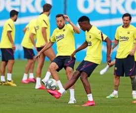 Jordi Alba's fitness will be tested when La Liga resumes. EFE