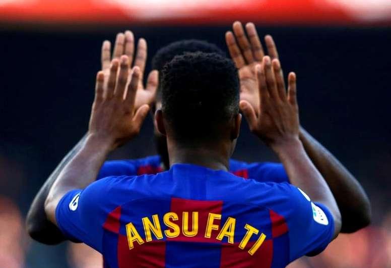 Ansu Fati marcou o quarto gol na vitória sobre o Villarreal. EFE/Enric Fontcuberta/Arquivo