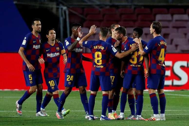 Ansu Fati marcó el gol 9.000 de la historia del Barça. EFE/Alberto Estévez