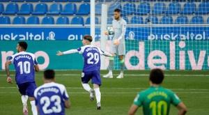 Borja Sainz debutó abriendo el marcador ante la Real. EFE
