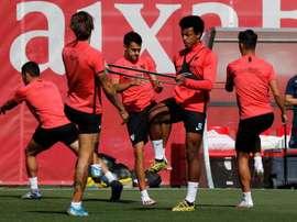 El Sevilla trabajó de cara a los cuartos de final. EFE