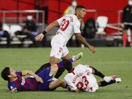 Reguilón, con sabor agridulce tras el 0-0 ante el Barça. EFE