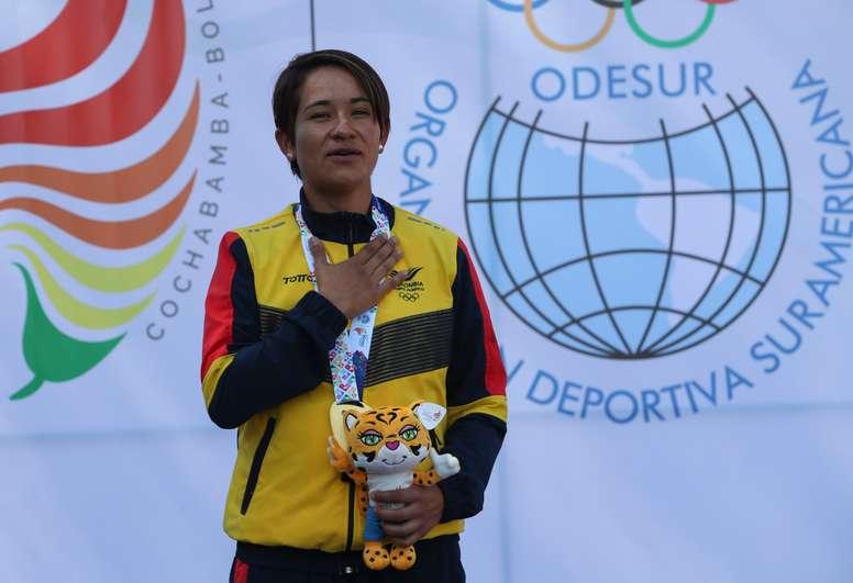 En la imagen el triple campeona de la Vuelta a Colombia, Ana Cristina Sanabria. EFE/Martin Alipaz/Archivo