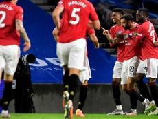 El United ganó con un doblete de Bruno Fernandes. EFE/EPA