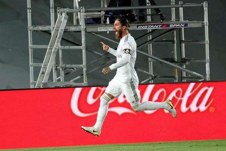 Sergio Ramos chega na marca de 450 jogos no Campeonato Espanhol. EFE/JuanJo Martín