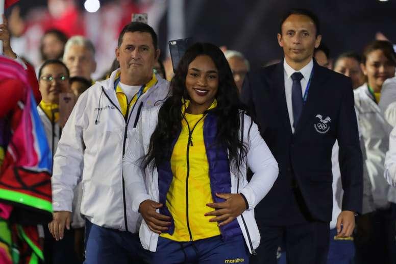 En la imagen, la levantadora de pesas ecuatoriana Tamara Salazar. EFE/Ernesto Arias/Archivo