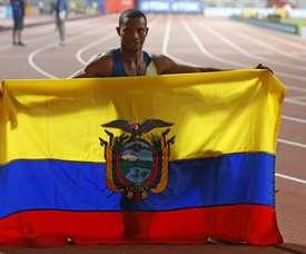 En la imagen un registro del atleta ecuatoriano Alex Quiñonez, en Catar. EFE/Lavandeira jr/Archivo