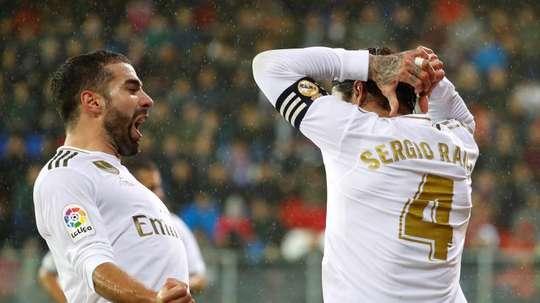 Real Madrid não terá Sergio Ramos e Nacho contra o Alavés. EFE/Juan Herrero