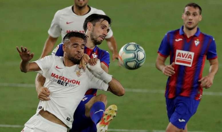 El Sevilla recibe al Eibar en el Pizjuán. EFE/Julio Muñoz