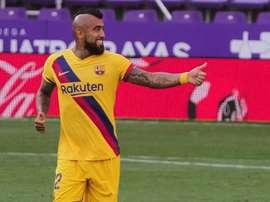 El gol de Vidal dio el triunfo al Barcelona. EFE