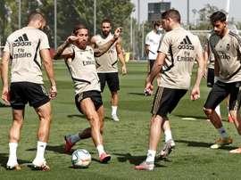 Ramos volvió con el grupo con la vista puesta en el 'Clásico'. EFE/Real Madrid