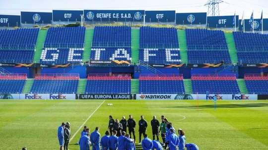 El Getafe irá con todos los disponibles al partido contra el Inter. EFE