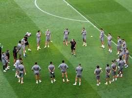 Españoles y alemanes trabajaron en el césped del estadio. EFE