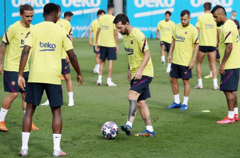 Messi em treino com o Barcelona