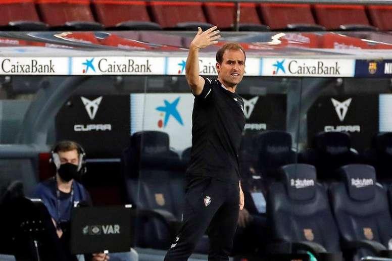 Jagoba Arrasate analizó el duelo que le espera en el Camp Nou. EFE/Archivo