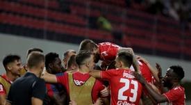 Al Estrella Roja se le atragantó su visita a Albania. EFE/EPA