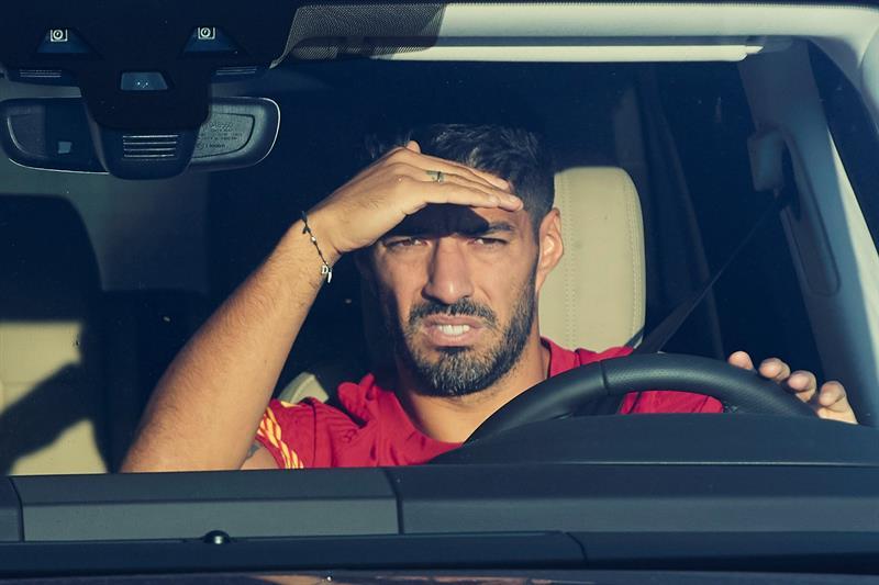Luis Suárez, en su coche