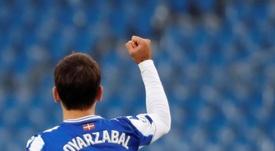 Oyarzabal, a un gol de igualar a Griezmann. EFE/Juan Herrero